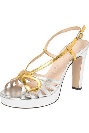 Gucci Women Platform Sandals - / Leather Crossed Bow Platform Sandals Size 39