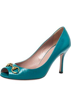 Gucci Teal Leather Horsebit Peep Toe Pumps Size 38.5