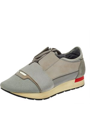 Balenciaga Grey Leather, Mesh and Suede Race Runner Sneakers Size 39