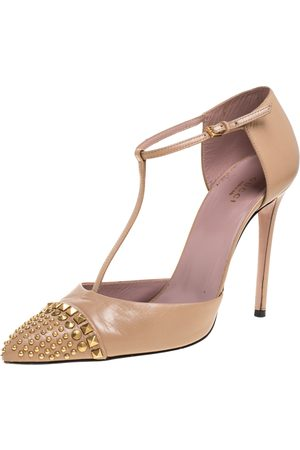 Gucci Leather Coline Studded T-Strap Pointed Toe Pumps Size 41.5