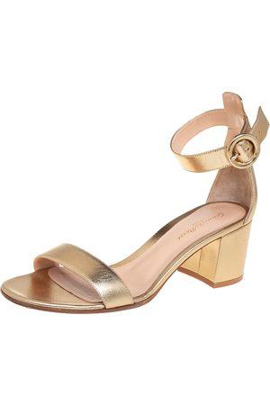 Gianvito Rossi Women Heeled Sandals - Metallic Leather Portofino Block Heel Sandals Size 39.5