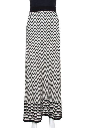 M Missoni Women Printed Skirts - Monochrome Wave Patterned Knit Maxi Skirt M