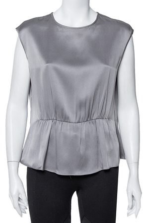 CH Carolina Herrera Grey Silk Satin Ruched Sleeveless Top L