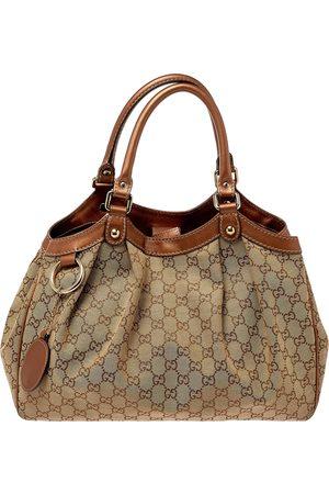 Gucci Women Purses - /Bronze GG Canvas and Leather Medium Sukey Tote