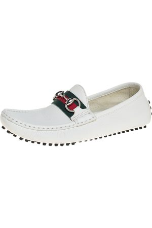 Gucci Leather Horsebit Web Slip On Loafers Size 37