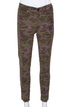 Zadig & Voltaire Camouflage Velvet Frayed Hem Paule Jeans S