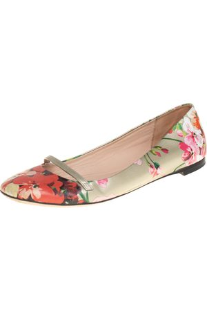 Gucci Women Ballerinas - Floral Printed Leather Blooms Ballet Flats Size 36