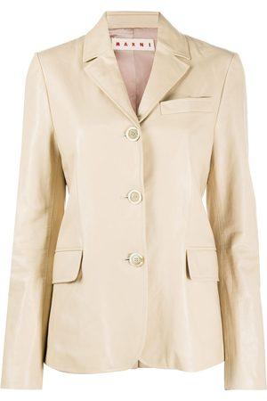 Marni Slim-fit leather blazer - Neutrals