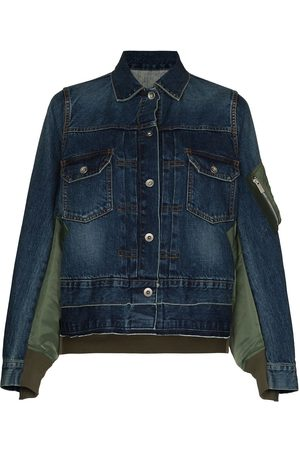 SACAI Women Denim Jackets - Panelled denim jacket