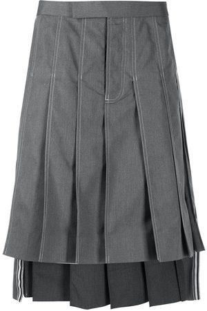 Thom Browne Knee-length pleated skirt - Grey