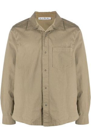 Acne Studios Logo-embroidered long-sleeve shirt - Neutrals