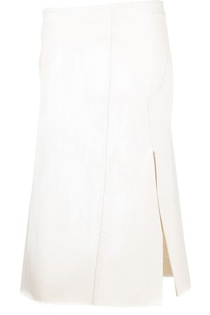 Marni Distressed-effect mid-length skirt - Neutrals