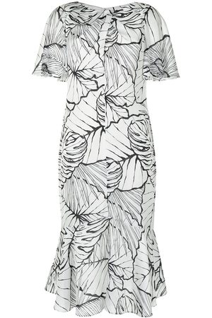 Marchesa Notte Women Party Dresses - Leaf pattern midi dress