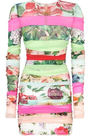 Dolce & Gabbana Women Party Dresses - Mixed-print long-sleeve dress - Neutrals