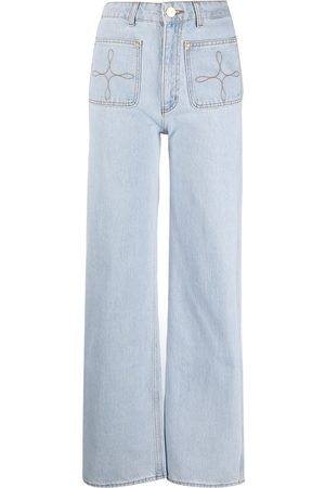 Sandro Women Wide Leg - Light-wash wide-leg jeans