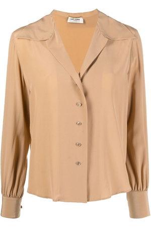 Saint Laurent Open-collar silk blouse - Neutrals