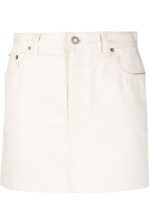 Saint Laurent Women Denim Skirts - Slim-fit denim skirt - Neutrals