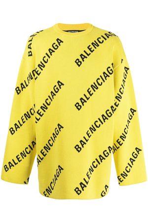 Balenciaga Men Sweatshirts - Logo-intarsia oversized jumper