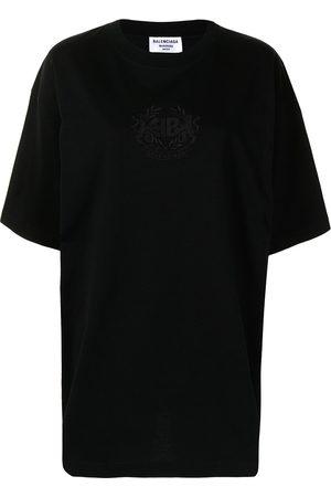 Balenciaga Women T-shirts - Logo-embroidered oversize T-shirt