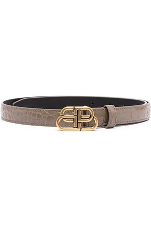 Balenciaga Croc-effect logo-buckle belt