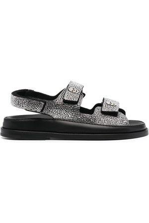 Philipp Plein Women Sandals - Crystal-embellished touch-strap sandals