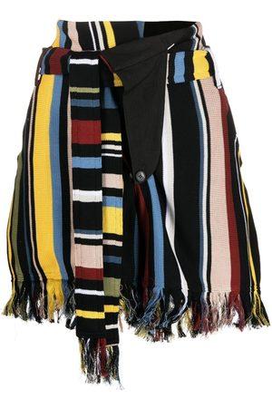 AMBUSH Fringed striped shorts
