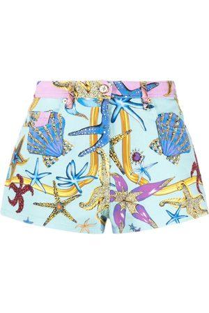 VERSACE Starfish-print denim shorts