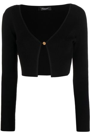 VERSACE Women Cardigans - Ribbed-knit cropped cardigan