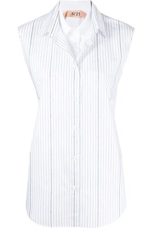 Nº21 Women Short sleeves - Vertical-stripe short-sleeve shirt