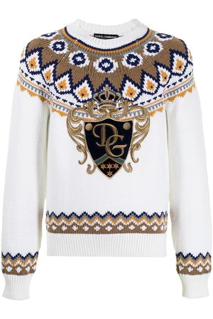 Dolce & Gabbana Patterned intarsia-knit jumper - Neutrals