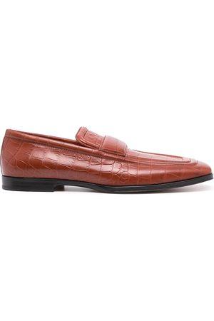 Bottega Veneta Men Loafers - Crocodile-effect square-toe loafers
