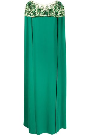 Marchesa Notte Embroidered cape dress