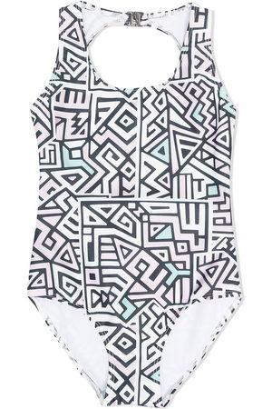 Le pandorine Geometric print swimsuit - Neutrals