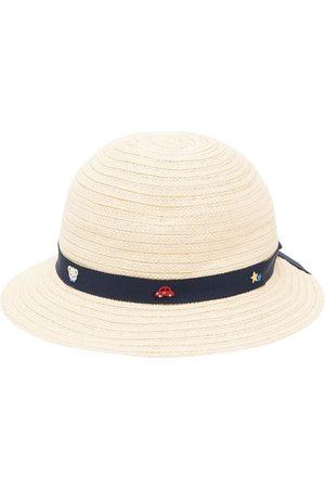 Familiar Embroidered-ribbon sun hat