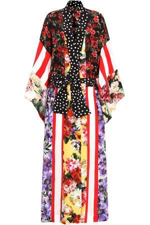 Dolce & Gabbana Women Coats - Long mixed-print silk coat