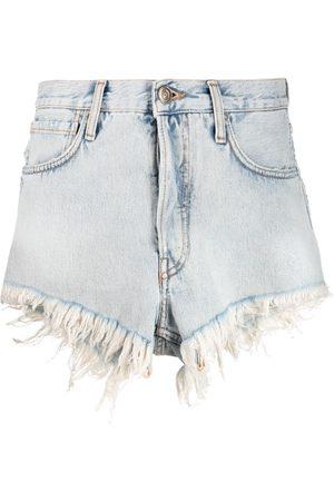 Alanui Women Shorts - Fringed denim shorts