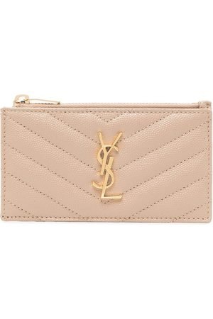 Saint Laurent Quilted pebbled leather cardholder - Neutrals