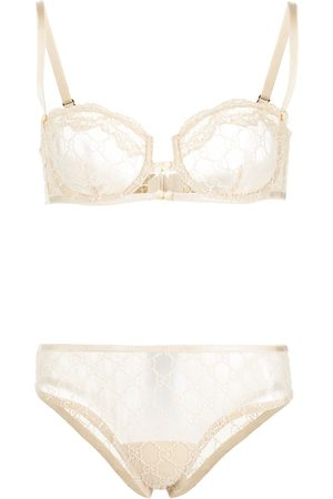 Gucci Women Bras - GG embroidered lingerie set - Neutrals