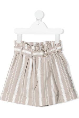 Brunello Cucinelli Girls Shorts - Stripe-print belted shorts - Neutrals