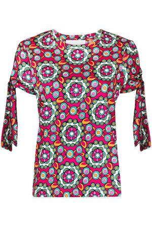 La Doublej Women Short Sleeve - Kaleidoscopic-print tie sleeves T-shirt