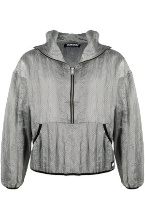 SANKUANZ Geometric-patterned zip-up hoodie - Grey