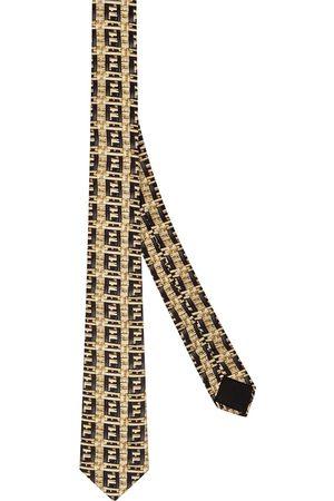 Fendi FF raffia print necktie - Neutrals
