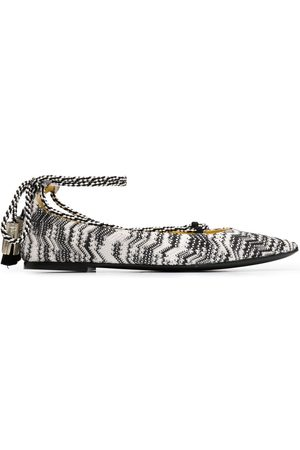 Missoni Women Ballerinas - Zigzag-embroidery lace-up ballerina shoes