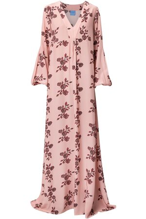 Macgraw Rose-print silk maxi dress