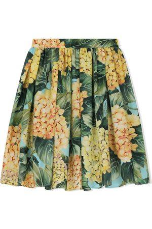 Dolce & Gabbana Hydrangea-print poplin skirt