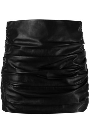 Michelle Mason Women Pencil Skirts - Ruched leather mini skirt