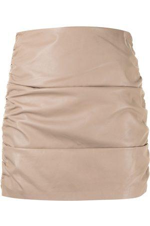Michelle Mason Women Mini Skirts - Ruched leather mini skirt - Neutrals