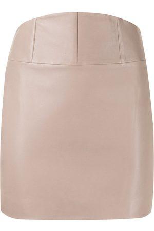 Michelle Mason Corset leather mini skirt - Neutrals