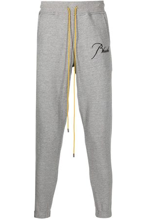 Rhude Men Sports Pants - Logo drawstring tracksuit bottoms - Grey