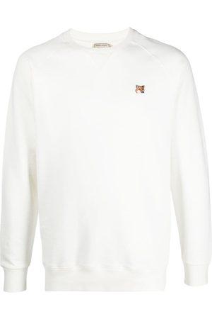 Maison Kitsuné Men Sweatshirts - Fox-patch sweatshirt - Neutrals